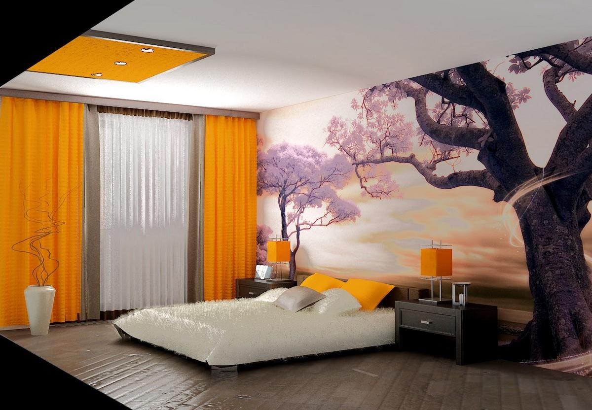 Дизайн спальни с полочками