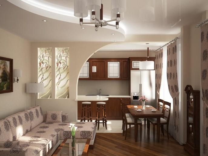 Дизайн комнаты совмещенной с кухней и гостинной