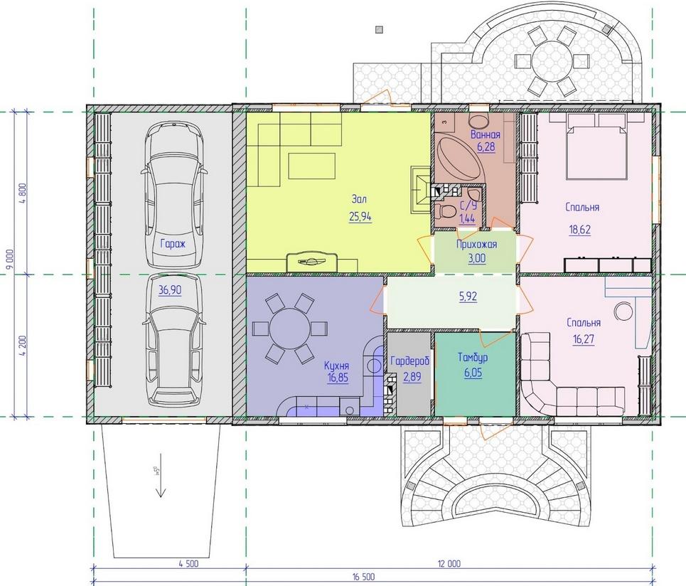 проекты одноэтажных домов с гаражом с террасой фото