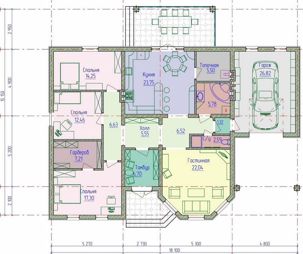 Планы одноэтажных коттеджей чертежи и